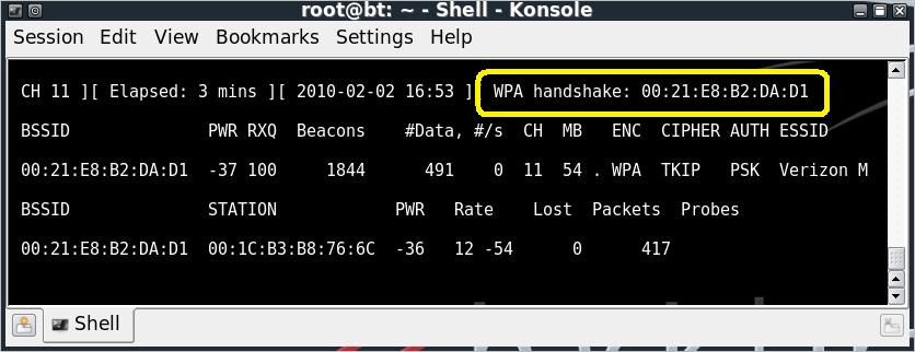 Airodump-ng WPA Handshake
