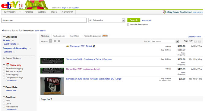 Sign Of The Times Shmoocon Tickets Scalped On Ebay Threatpost