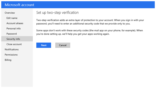 Microsoft Two Factor Authentication