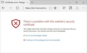 Microsoft's SHA-1 certificate error message to be displayed after Feb. 14, 2017 on Edge and IE 11 browsers