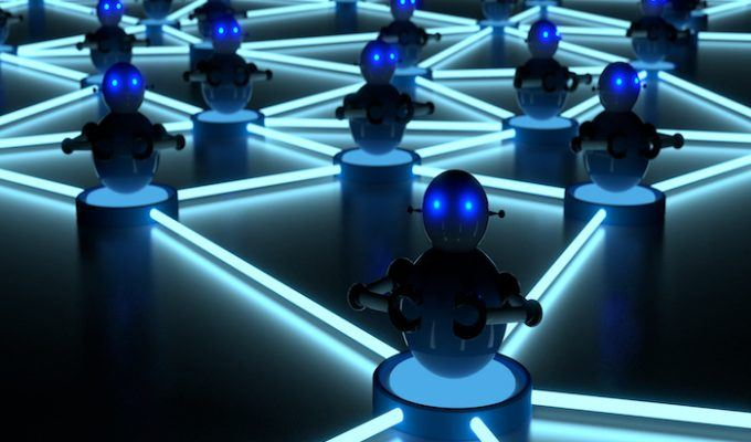 Botnet concept with glowing eyes platform bots
