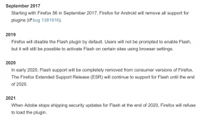 mozilla flash end of life