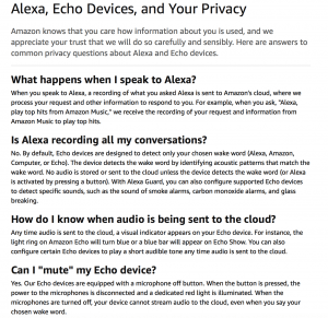 amazon echo privacy policy