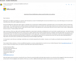 Microsoft outlook data breach