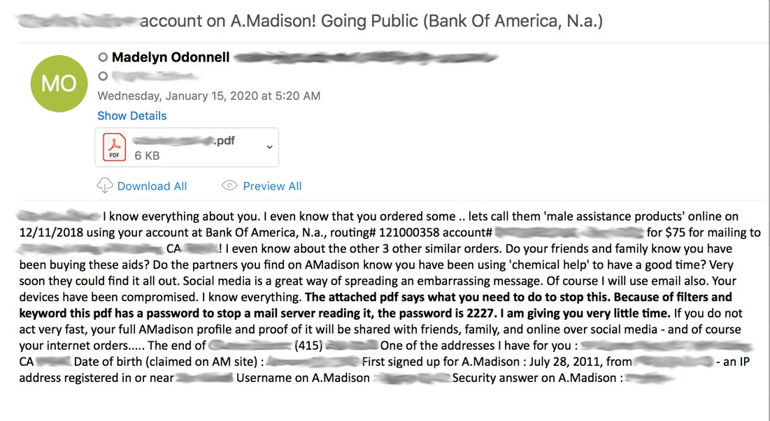Ashley Madison extortion scam email
