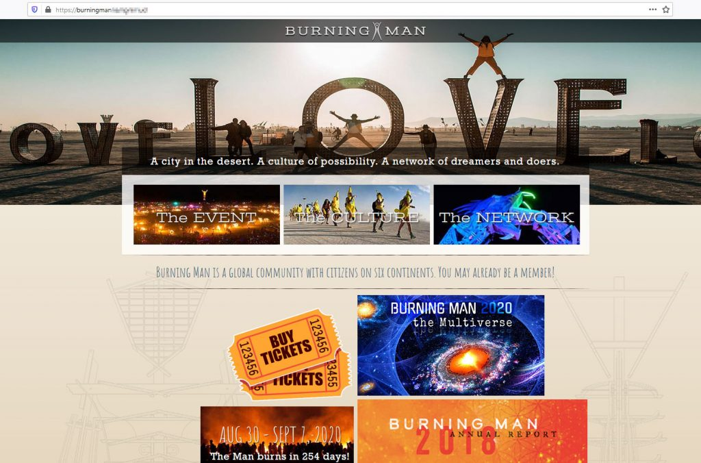 Fake Burning Man website and main page