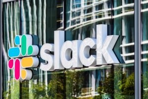 August 21, 2019 San Francisco / USA - Slack Technologies, Inc. sign at their HQ in SOMA district; Slack (its main product) is a cloud-based set of collaboration software tools and online services