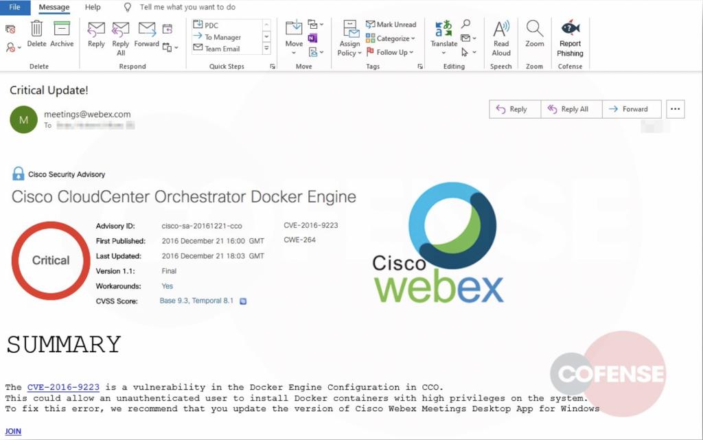 cisco Webex phishing campaign