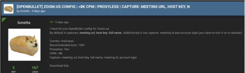 Dark web zoom compromised credentials