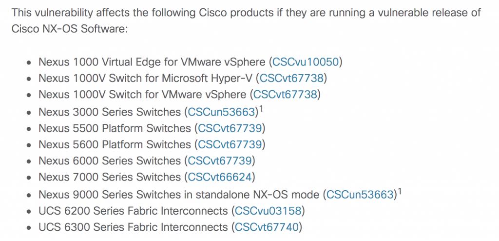 Cisco nexus switch flaw