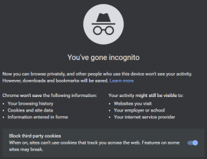 Google Chrome incognito mode